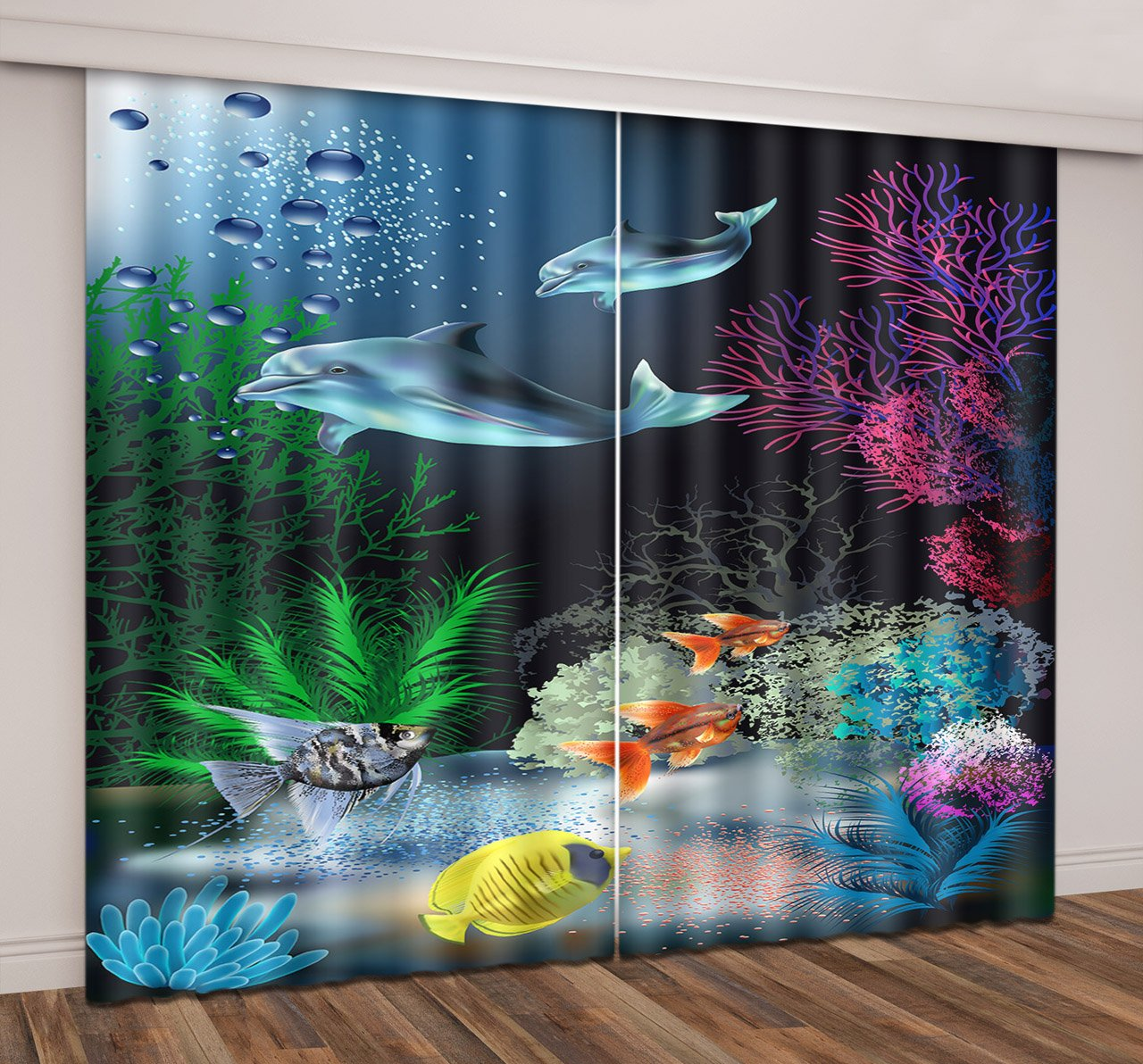 Ocean Decor 3D Window Curtains By LB,Underwater Coral Reef Polyps Algae Dolphins Window Treatment Curtains Living Room Bedroom Window Drapes 2 Panels Set,104W x 96L Inches