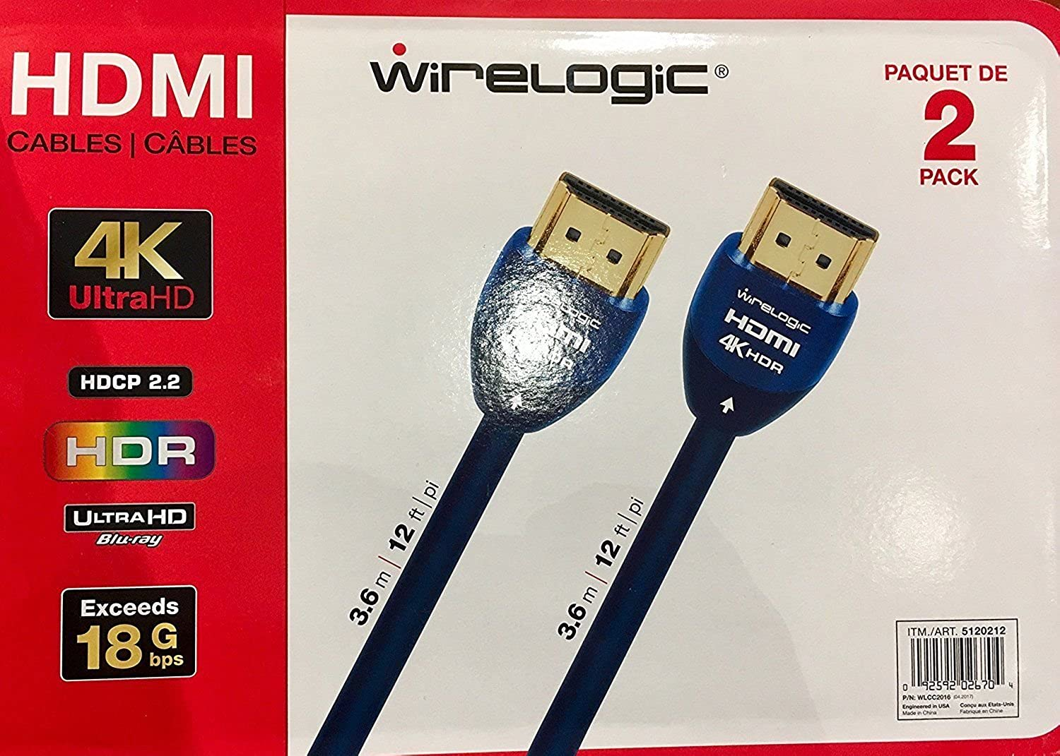 Amazon.com: WireLogic 12 Feet Sapphire HDMI Cable 2-pack: Clothing