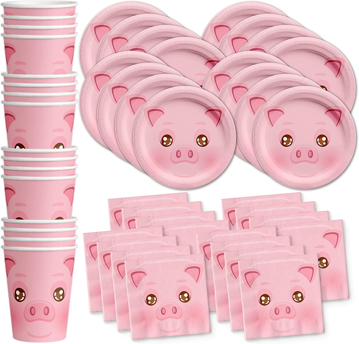 Pig Birthday Party Supplies Set Plates Napkins Cups Tableware Kit for 16