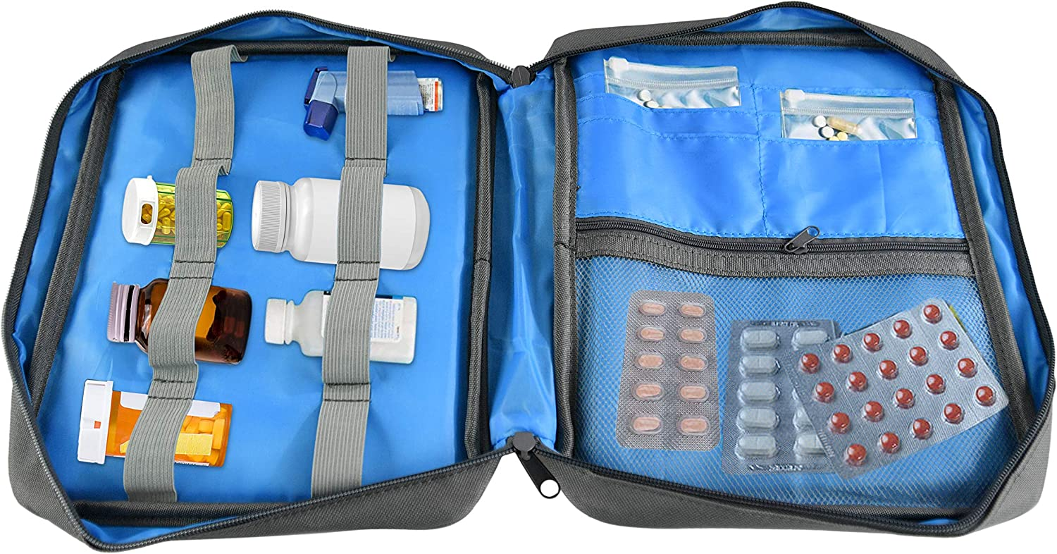 "HOME-X Pill Organizer Bag, Medicine Organizer, Zippered Pill Case for Medicine Storage and Organizing Bottles, 9 ¾""L x 7 ¾"" W x 2"" H, Gray"