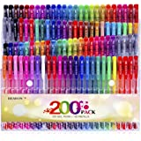 Reaeon 200 Gel Pens Coloring Set 100 Gel Pen plus Refills for Adults Coloring Books Drawing Painting Writing Art Markers