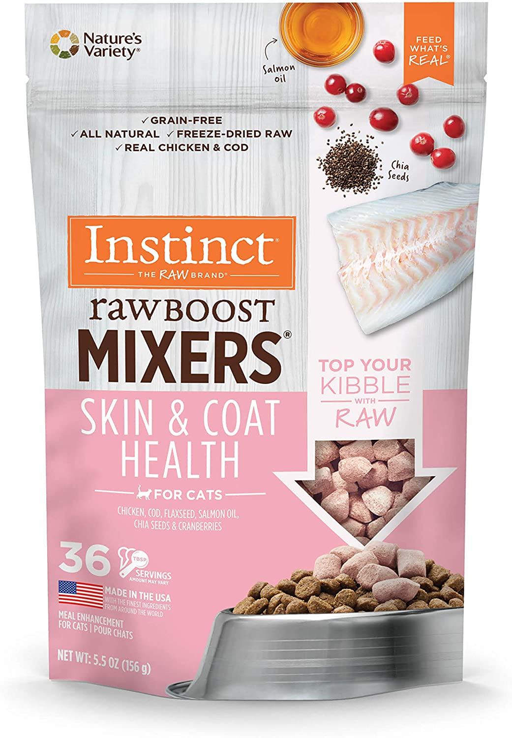 Instinct Freeze Dried Raw Boost Mixers Grain Free Skin & Coat Health Recipe All Natural Cat Food Topper by Nature's Variety, 5.5 oz. Bag