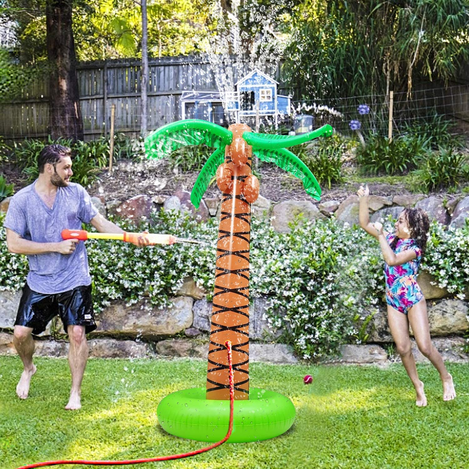 Spray Water Pool Toy Inflatable Water Park Outdoor Hawaiian Party Coconut Tree for Lawn Splash Sprinkler for Toddlers Backyard Beach Games Toys 61 Inflatable Palm Tree Backyard Sprinkler Toy for Kid