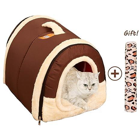 Cama Perro Gato 2 en 1, Casa Mascota Interior Grande o Pequeño, Lavable Plegable
