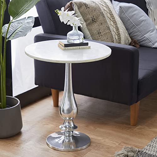 Deal of the week: Benzara Antique Colonial Graceful Aluminum Marble Accent Table