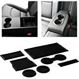 CupHolderHero for Tesla Model 3 2017-2020 Custom Liner Accessories – Premium Cup Holder and Center Console Inserts 7-pc Set (Solid Black)