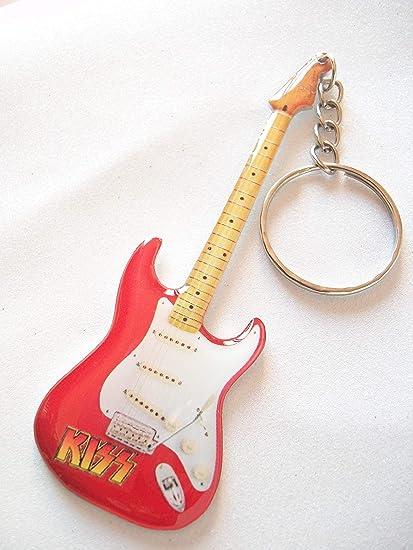 Llavero de metal con forma de guitarra eléctrica Kiss ...