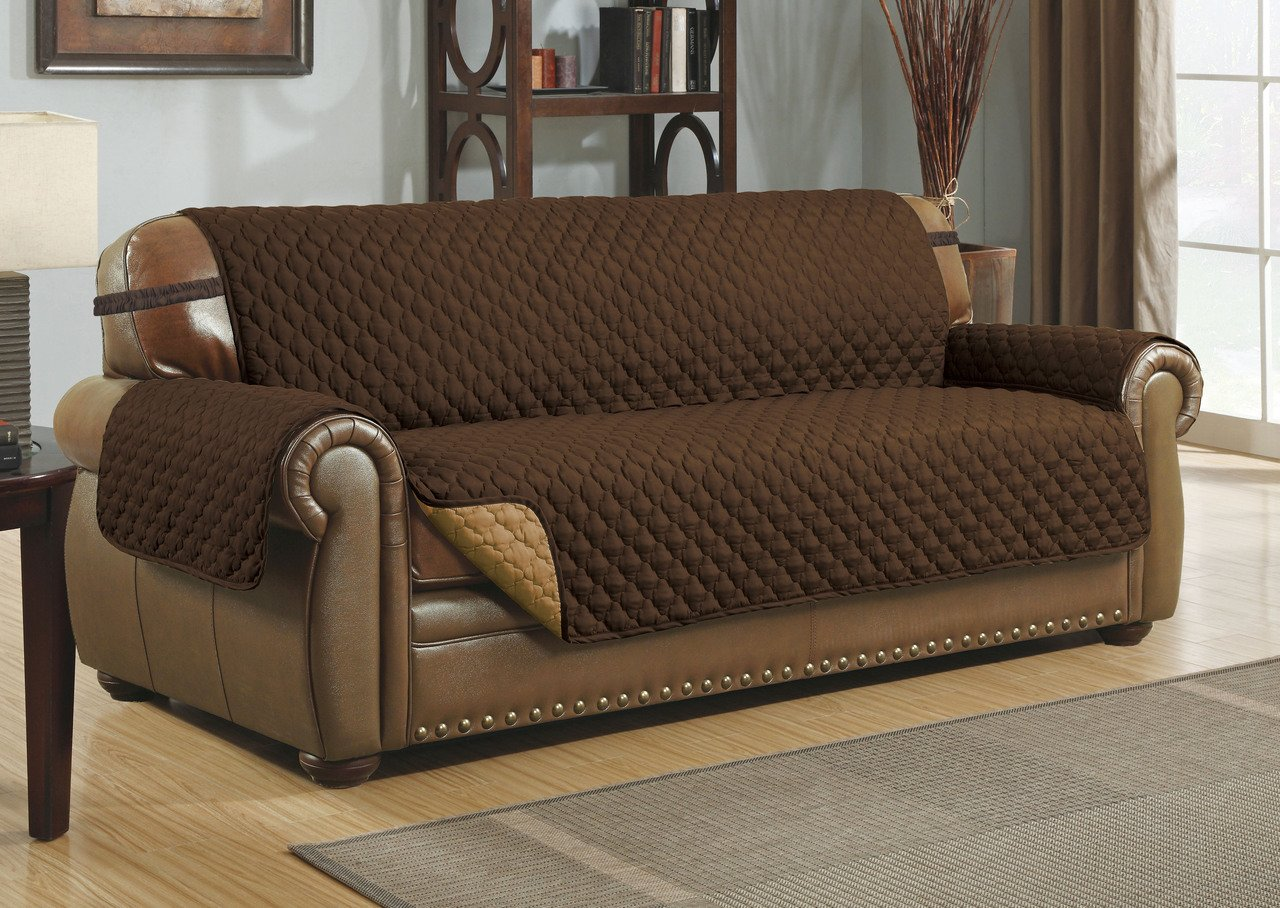 Le Benton Reversible Sofa Cover, Quilted Pet Couch Slipcover, Elastic Strap, Machine Washable - Brown/Taupe by Le Benton