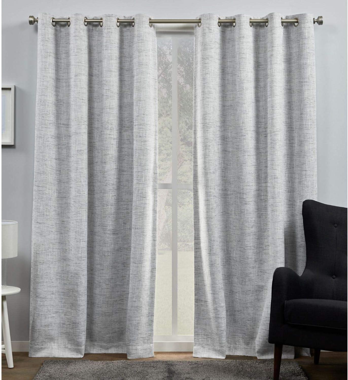 Exclusive Home Curtains Burke Blackout Grommet Top Curtain Panel Pair, 52x84, Dark Grey