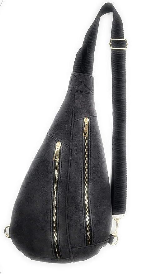 5cd81c669c66fe Amazon.com | Cute Faux Leather Sling Bag, Adjustable Nylon Strap, Crossbody Backpack  Side Waist Pack Purse (Distressed Black) | Waist Packs