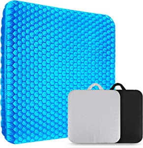 XSIUYU Extra-Large Gel Seat Cushion, Breathable Honeycomb Design Pain Relief Egg Seat Cushion - Home Office Chair Cars Wheelchair (Blue, 18 x 17 x 1.57inch)