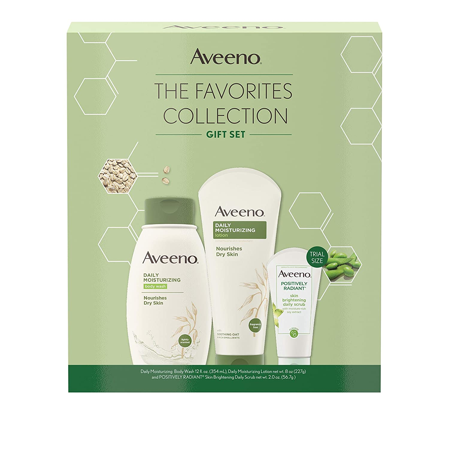 Aveeno The Favorites Collection Skincare Set with Daily Moisturizing Body Wash, Positively Radiant Brightening Daily Scrub, and Daily Moisturizing Lotion, Gift Set for Women, 3 items: Beauty