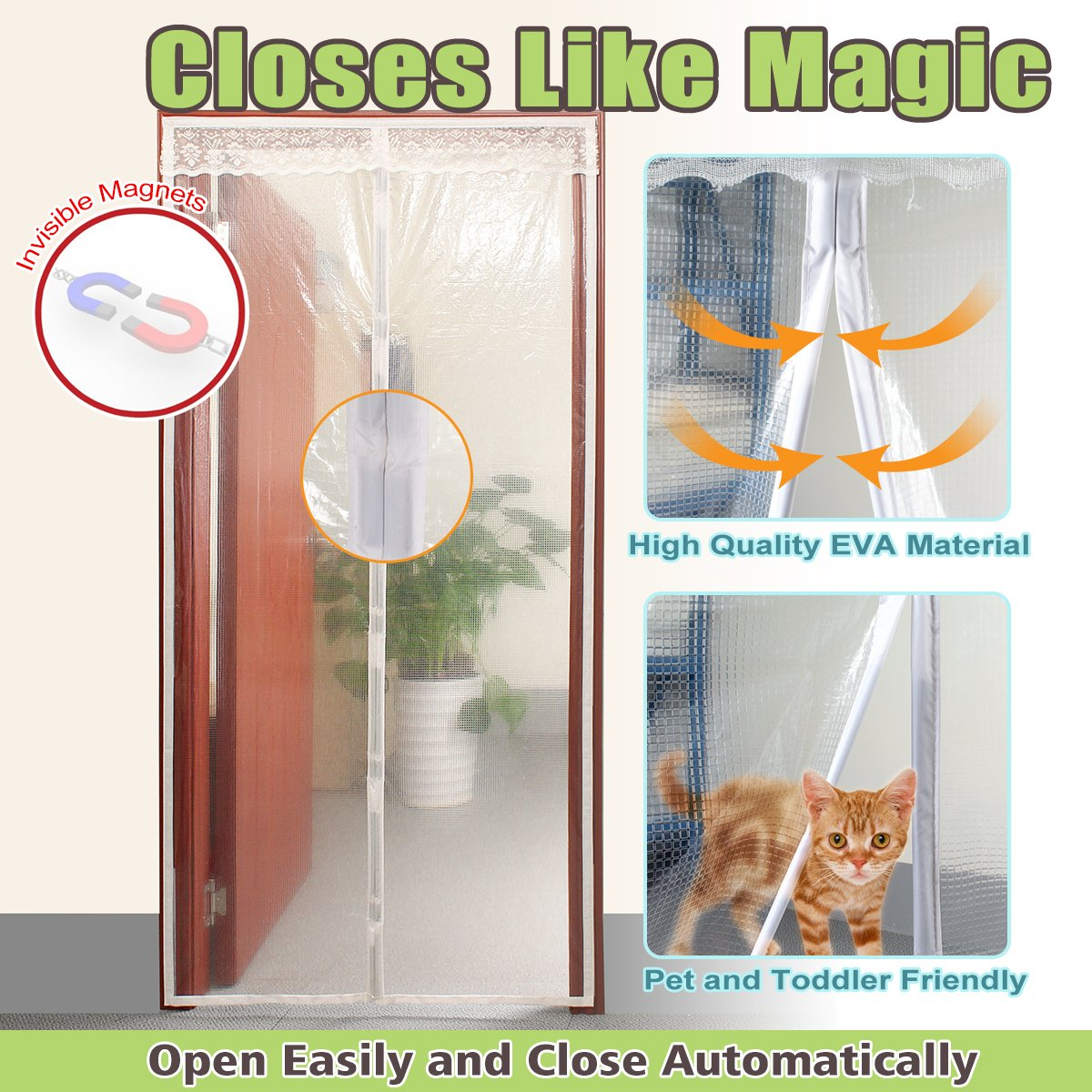 Transparent Magnetic Thermal Insulated Door Curtain Enjoy Your Cool Summer And Warm Winter With Saving You Money Door Curtain Auto Closer Fits Doors Up To ...  sc 1 st  Amazon.com & Transparent Magnetic Thermal Insulated Door Curtain Enjoy Your Cool ...