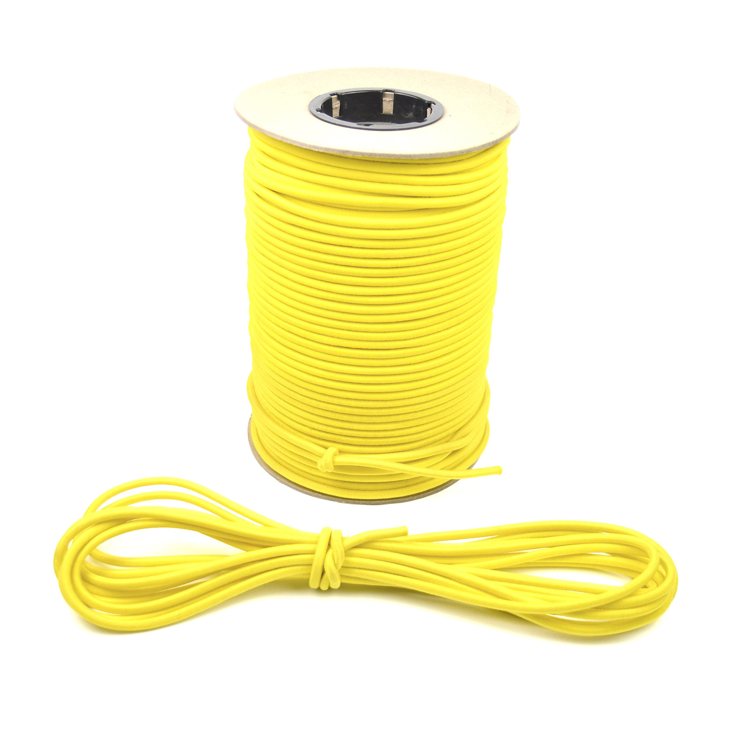 Marine Masters 1/4'' Yellow Bungee / Shock Cord Crafting Stretch String, Tie Down Trailer Strap (Sold by the foot)