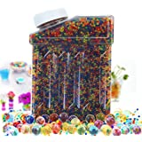 CloverTale Water Beads Rainbow Mix, 50000 Beads Non Toxic Water Beads Vase Filler, Bottle Pack Bead Sensory Balls for Kids, Decoration, Plants and More