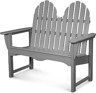 product image for POLYWOOD Classic Adirondack Bench, Slate Grey