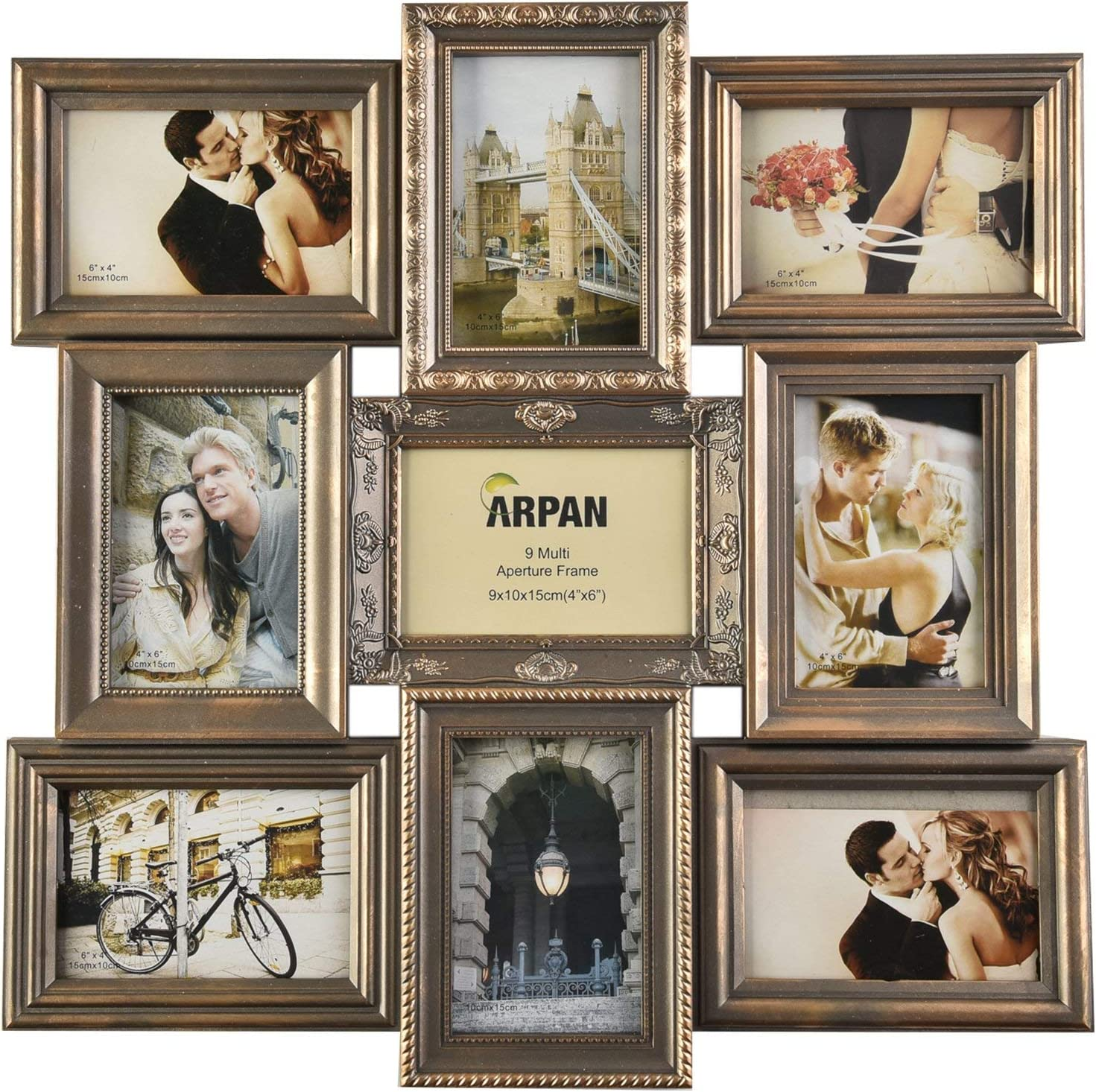 """Arpan Multi Aperture Picture Photo Frame Hold 9-6x4/"""" Photo Best Frame Natural"""