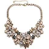 Fsmiling Vintage Gold Tone Collar Chain Sparkly Crystal Choker Necklace For Party