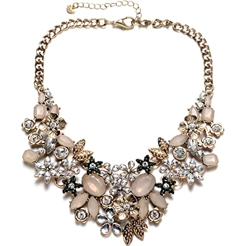 505c4deed Fsmiling Vintage Antique Gold Sparkly Crystal Choker Statement Necklace for  Women Party