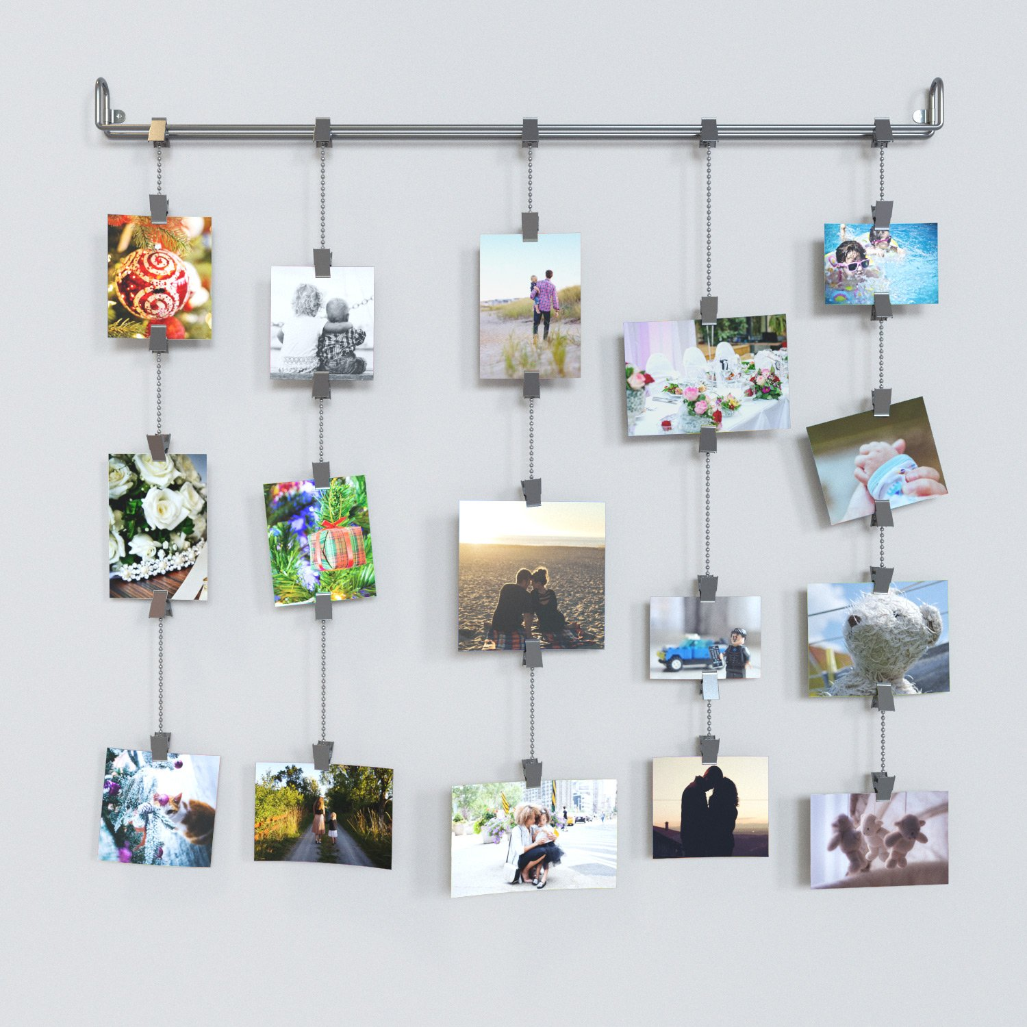 Amazon.com: RACK and HOOK Kid's Room Dcor Hanging Multi-Photo Rail Art and  Craft Display Silver 29.5 Inch