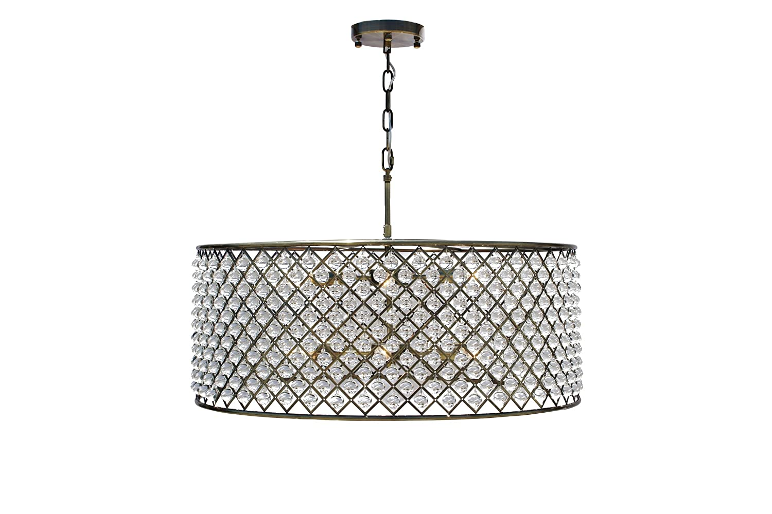 Cassiel Crystal Drum Chandelier Extra Large Antique Brass Com
