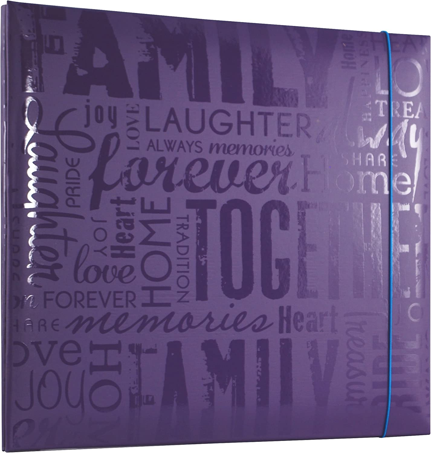 Embossed Family 848116 Deep Purple MCS MBI 13.5x12.5 Inch Embossed Gloss Expressions Scrapbook Album with 12x12 Inch Pages