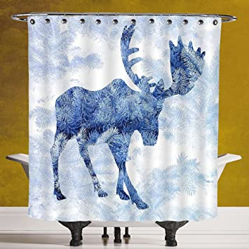 Amazon.com: Decorative Shower Curtain 3.0 by SCOCICI [ Moose,Blue ...