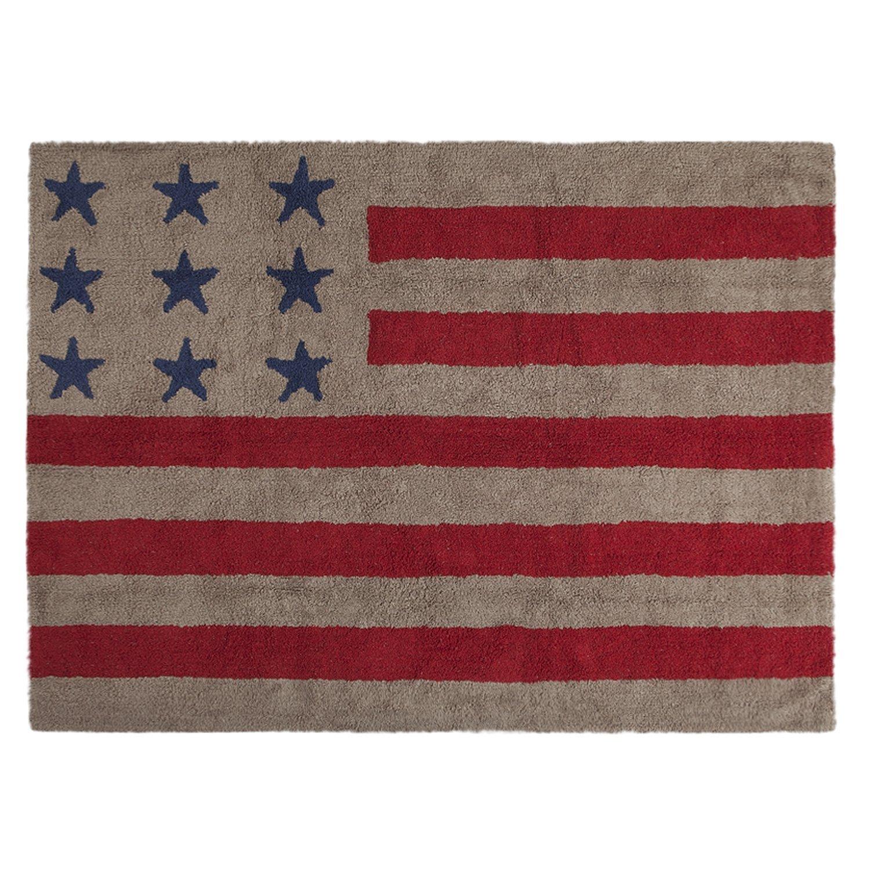 Lorena Canals–Alfombra para bebé (lavable bandera americana/lino/rojo) Flag American Linen - Red C-FA-LR