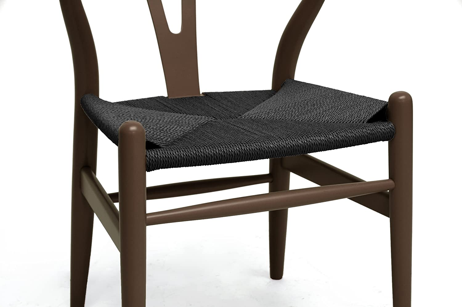 Superior Amazon.com   Baxton Studio Wishbone Chair/Brown Wood Y Chair With Black  Seat   Chairs