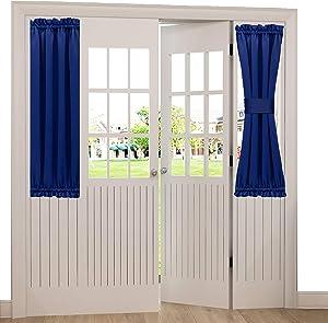 Spring Garden Home 40 Inch French Door Curtains Short Energy Efficient Window Treatment Drapes Kitchen Door Curtain Blackout Panels, 1 PC, 25 inch x 40 inch, Dark Blue