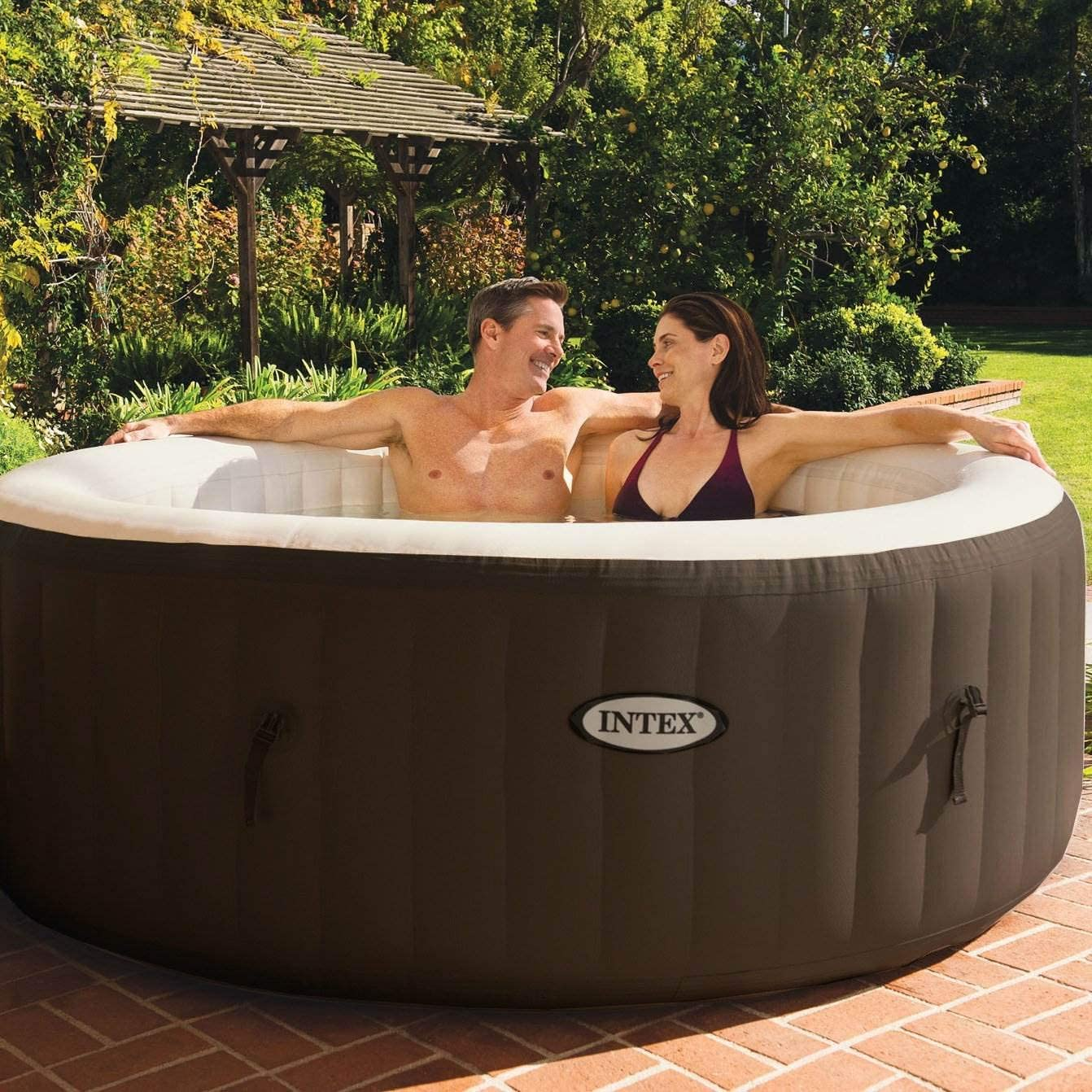 Intex PureSpa Bubble Massage 4 Person Capacity Puncture Resistant Inflatable Outdoor Hot Tub Spa with Soothing Jets