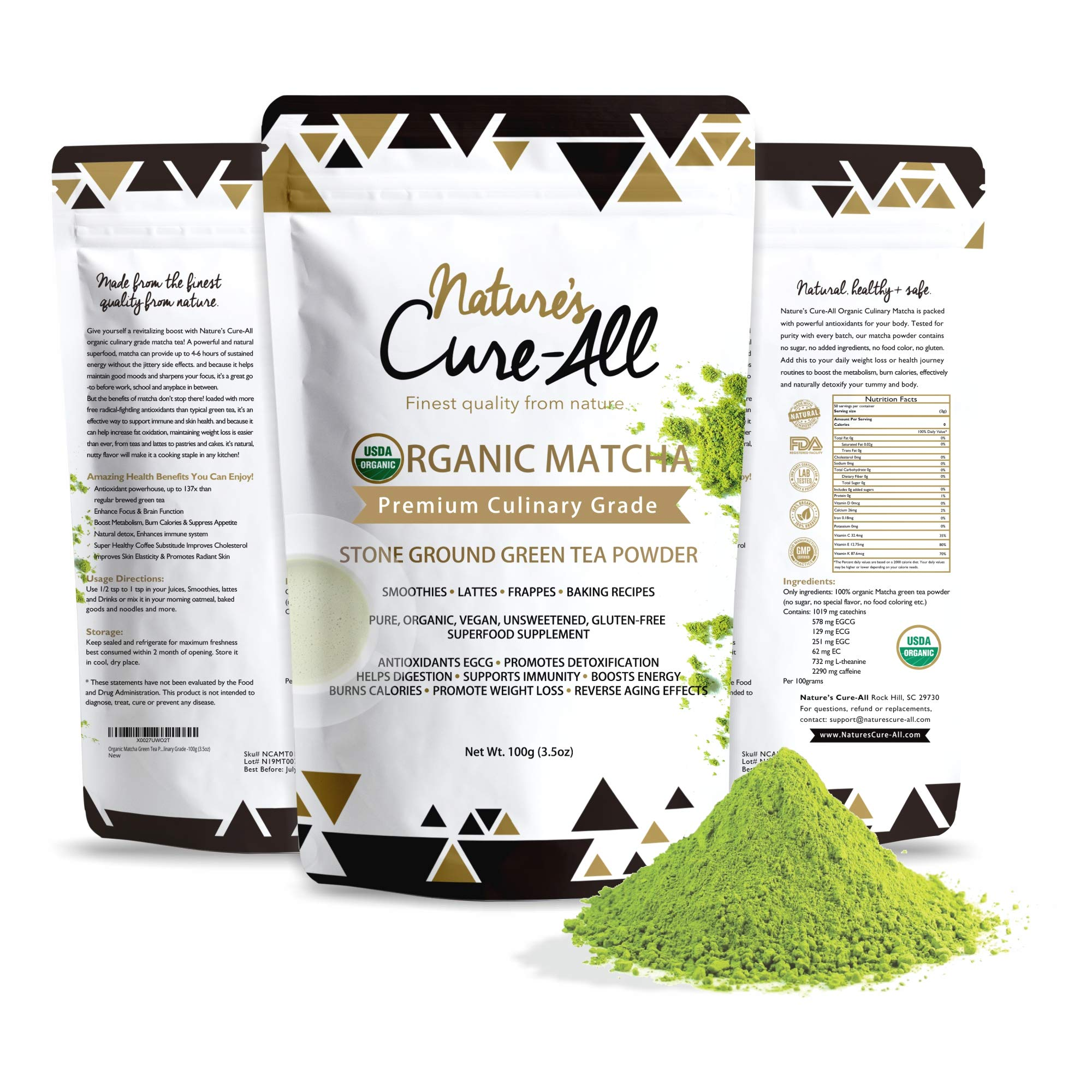 Organic Matcha Green Tea Powder 3.5oz (100g) | USDA Certified, Authentic Japanese Origin | Natural Energy & Metabolism Booster-for Baking, Smoothies, Lattes & Weight Loss Shakes-Premium Culinary Grade by Nature's Cure-All