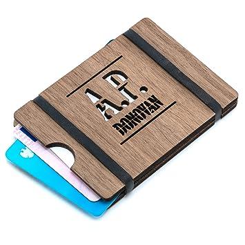 Ap Donovan Geldbörse Aus Holz Kreditkarten Etui Auch Geeignet Für Visitenkarten Braunes Nussbaum Holz 8 7cm X 6 2cm