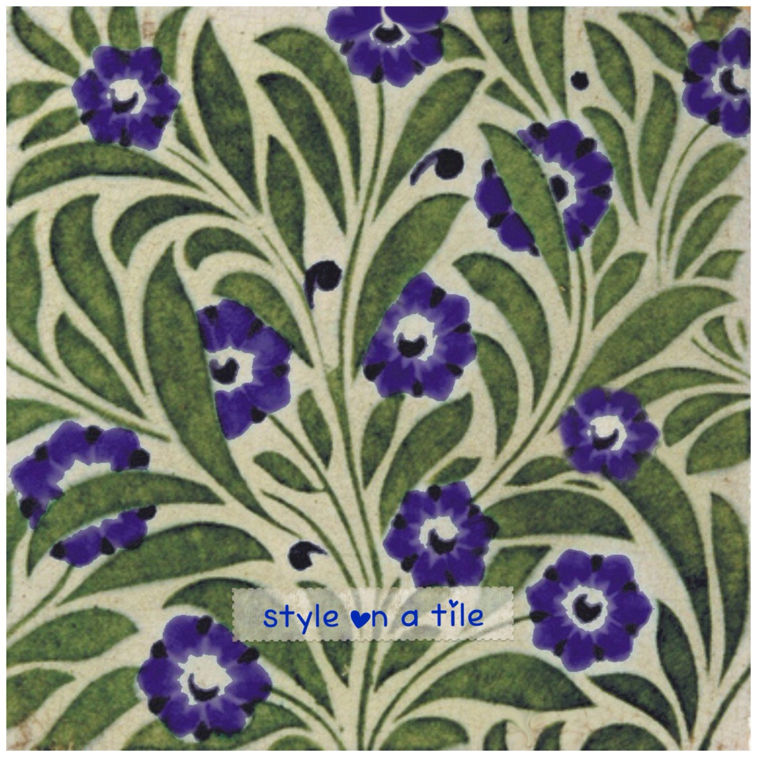 murals plant stand bathrooms fireplace surrounds Beautiful Art and Crafts William De Morgan Blue Small Flower and Green Leaf Foliage design 6//152mm ceramic tile for kitchens splash backs