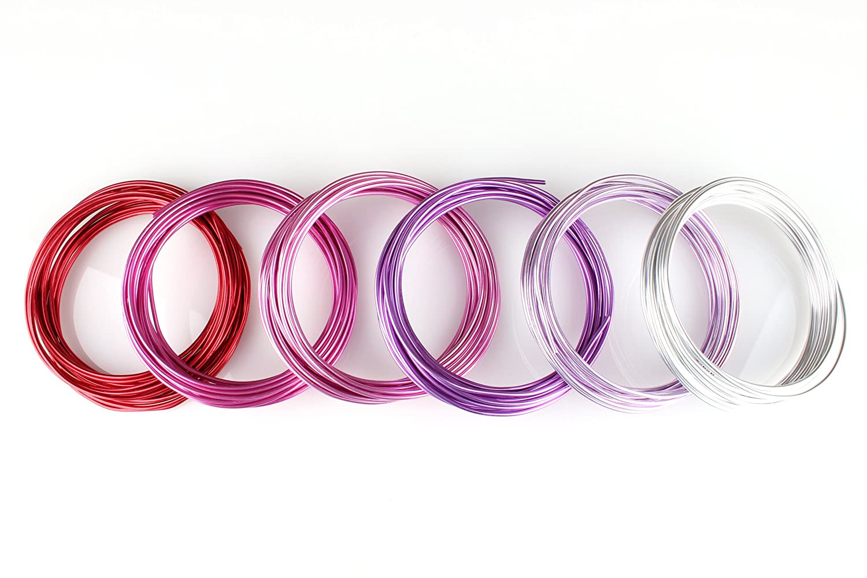 6 Rollos a 5 Metros de Varios Colores Creacraft Alambre de Aluminio Art/ístico Dulce Rojo para Bisuter/ía 30 Metros
