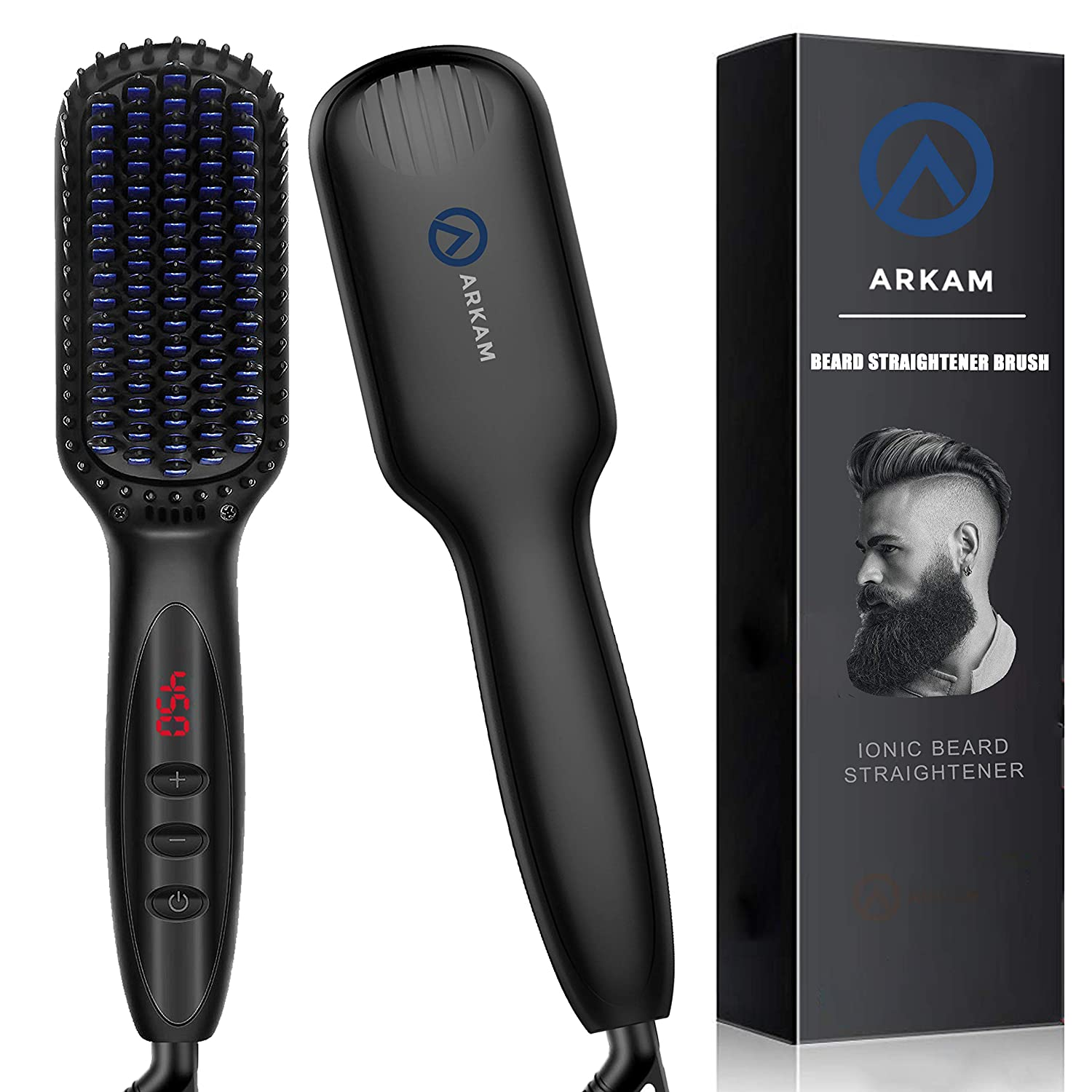 Arkam Beard Straightener for Men, Ionic Beard Straightening Comb with Anti-Scald Feature, Heated Hair Straightener for Men & Women, Portable Beard Brush Straightener Digital Display for Home & Travel