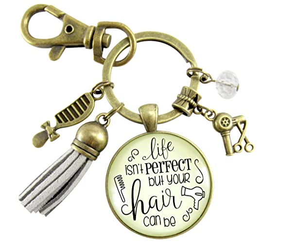 Amazon.com  Beautician Keychain Life Isn t Perfect But Hair Can Be ... ce8181fe23