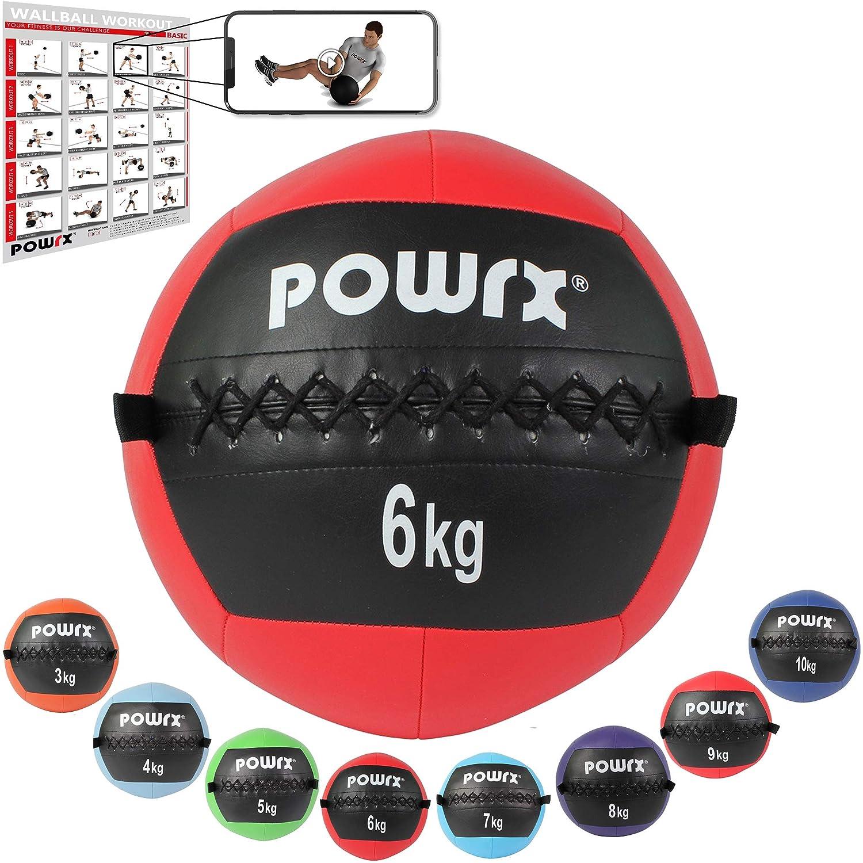 POWRX Wall ball Balón medicinal 6 kg - Ideal para ejercicios de ...