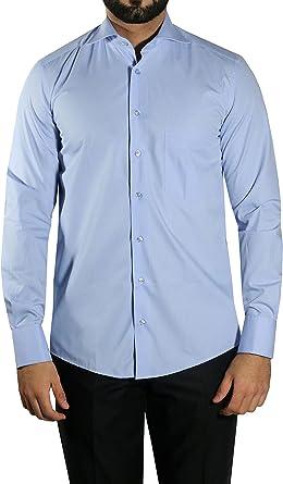 Camisa para Hombre mmuga Tiburón Cuello, Azul Medio, Tallas S – 5 x l: Amazon.es: Ropa y accesorios
