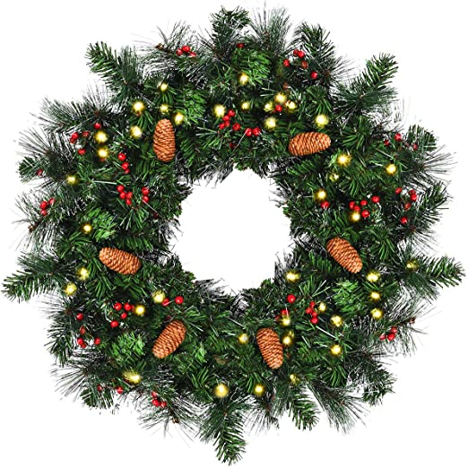 Led Xmas Wreath Christmas Lights 140 White Bulbs In//outdoor Decoration