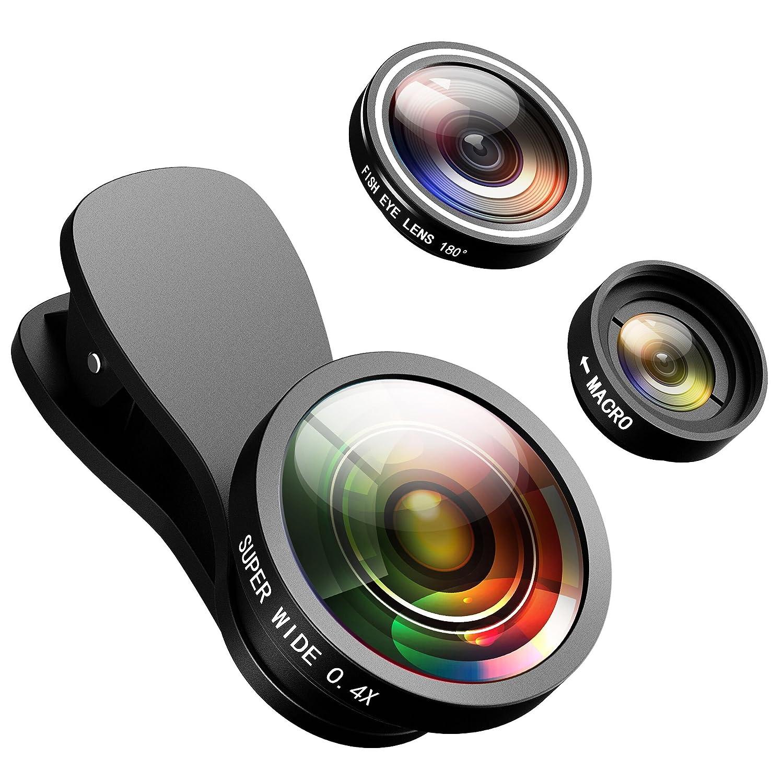 VicTsing Phone Lens Kit, 3 in 1 Clip On Phone Camera Lens, 10X Macro Lens +  180 Degree Fisheye Lens + 0 4X Wide Angle Lens, Professional HD Cell Phone