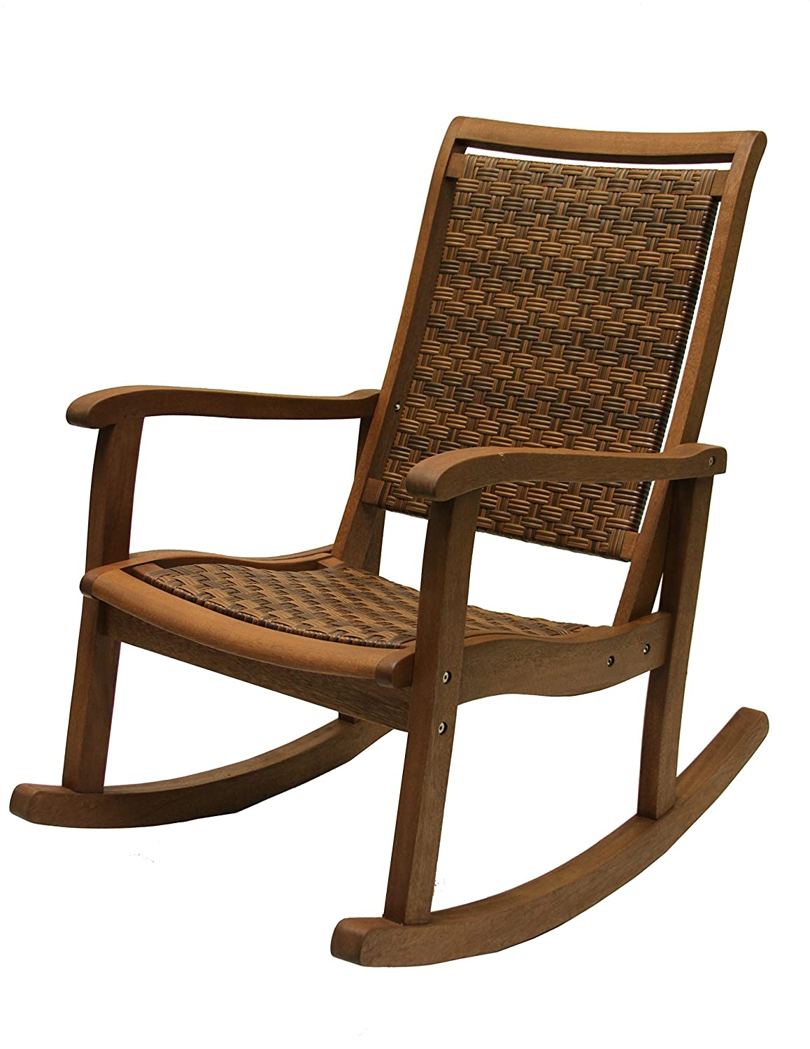 Set of 4 folding wood and resin wicker rockers benches amp chairs - Amazon Com Outdoor Interiors 21095rc All Weather Wicker Mocha And Eucalyptus Rocking Chair Patio Rocking Chairs Patio Lawn Garden