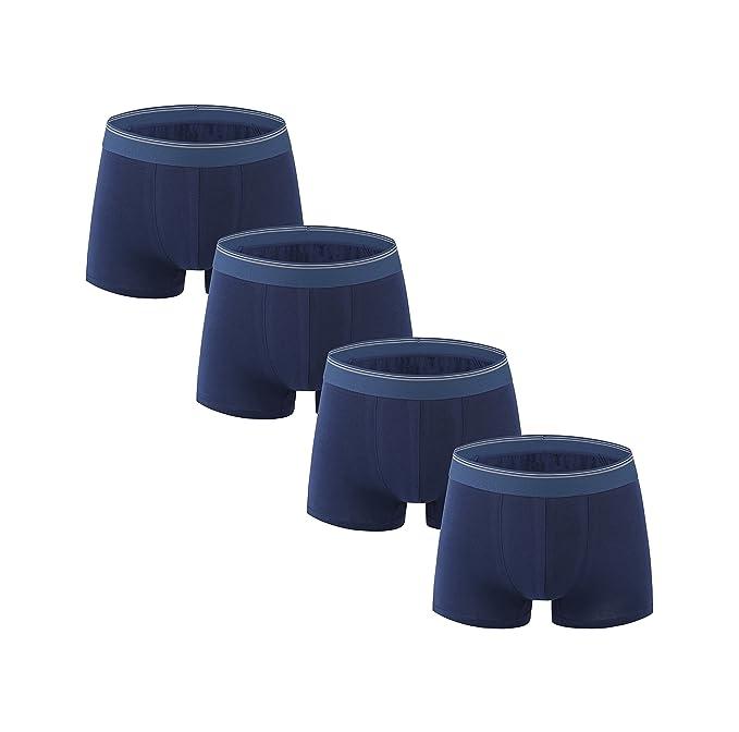 Nuofengkudu Hombre 4 Pack Bóxers Ajustados Ropa Interior Cortos Bulge Mutande Calzoncillos Respirable Algodón sin Costuras