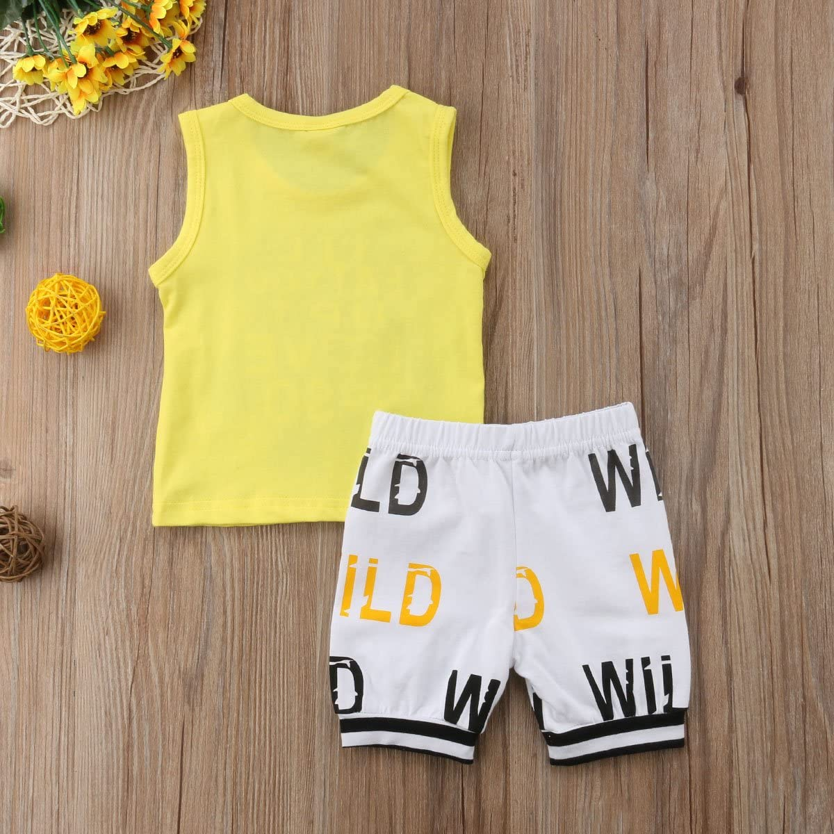 Lamuusaa Newborn Infant Toddler Baby Boy Sleeveless Cartoon Tank Top Vest White Letter Printed Shorts Pants Summer Outfit