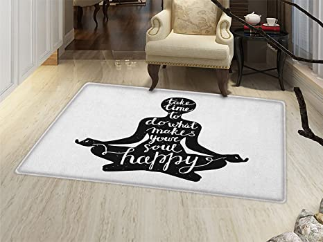 Amazon.com : Yoga Bath Mats Carpet Black Silhouette with ...