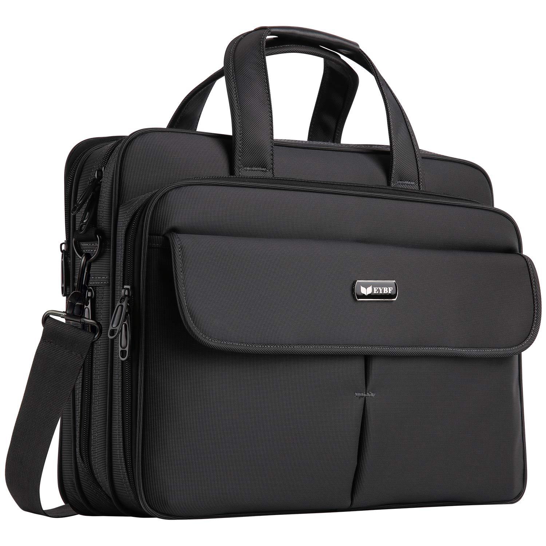 EYBF Laptop Bag 15.6 Inch, Expandable Travel Business Briefcase for Men & Women, Water Resistant Messenger Shoulder Bag with Organizer, Black