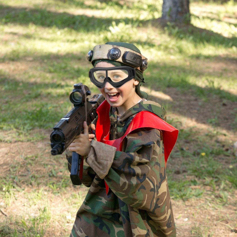 perfekt f/ür Spielzeugpistolen mit Schaumstoff-Munition und UV-Schutz 2 Kinder-Schutzbrillen mit Antibeschlag