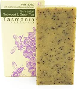 Beauty and the Bees 100% Natural Tasmanian Seaweed & Green Tea Leatherwood Honey Soap Scrub Bar Cleanser for Face Hands & Body   Zero waste & Eco-Friendly