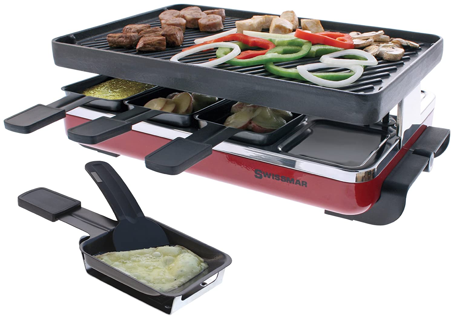 4. Swissmar KF-77046 Classic 8 Person Raclette with Reversible Cast Iron Grill Plate/Crepe Top, Red