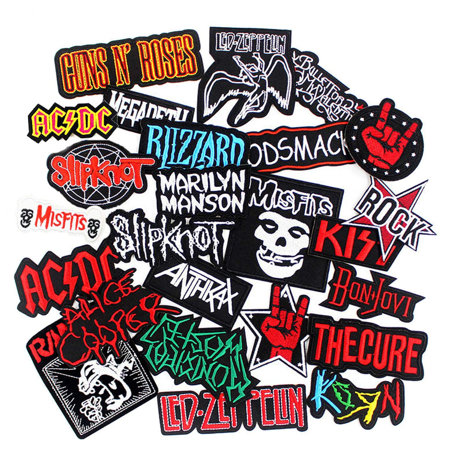 25pcs Bank Rock Music Patches Mixed Band Rock Music Patches Embroidered Badge Punk Hippie Clothes Stickers Iron on for Clothes Jacket Jeans Applique by Wedany